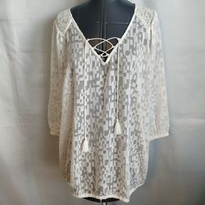 Lane Bryant Outlet Shirt Top 14 16 White Ivory new